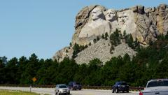 Mount Rushmore National Memorial sculptured in granite USA Stock Footage
