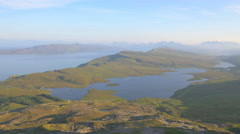 Aerial view of Scottish Loch Isle of Skye Highland Region Scotland Stock Footage