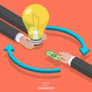 Stock Illustration of Investing into innovation flat isometric vector concept.