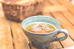 Norman apple cider in a typical ceramic cup Stock Photos