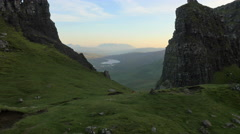Aerial view of people near Old Man of Storr Skye Stock Footage