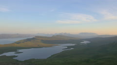 Aerial view of Loch near Old Man of Storr Scotland - stock footage