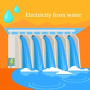 Electricity From Water Design Flat Stock Illustration