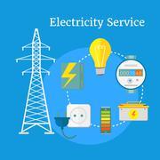 Electricity Service Flat Design - stock illustration