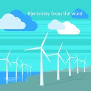 Electricity From Wind Design Flat - stock illustration