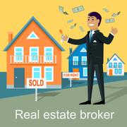 Real Estate Broker Design Flat - stock illustration