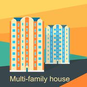 Multi-Family House Design Flat - stock illustration