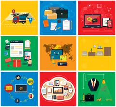 Business Online, Social Media, Delivery Concept - stock illustration