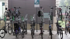 Bycicle stand, stocking them Stock Footage