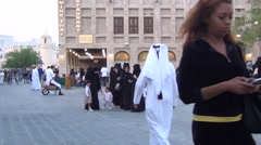 Veiled women in souq Waqif Stock Footage