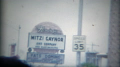 1965: Mitzi Gaynor & Fats Domino marquee sign Castaways Hotel Casino. LAS VEGAS - stock footage