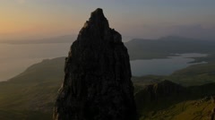 Aerial sunset view of Totternish Ridge by Storr Scotland Stock Footage