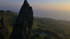 Aerial sunset view of Storr Totternish Ridge Scotland Stock Footage