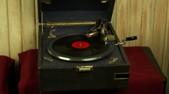 Vintage gramophone plays a record Arkistovideo