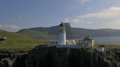 Aerial view of people Neist Lighthouse Skye Stock Footage
