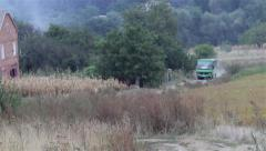 Bus on nature Stock Footage