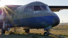 Berlin-Tempelhof plane wreck Stock Footage
