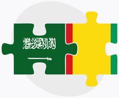 Saudi Arabia and Guinea Flags - stock illustration
