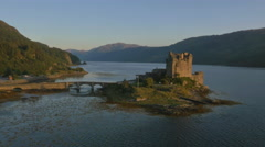 Aerial view Eilean Donan castle Loch Duich Scotland Stock Footage