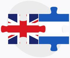 United Kingdom and Nicaragua Flags - stock illustration