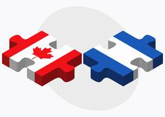 Canada and Nicaragua Flags Stock Illustration