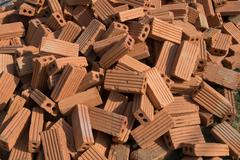 brick block used for industrial in residential building construction site - stock photo