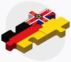 Germany and Niue Flags - stock illustration