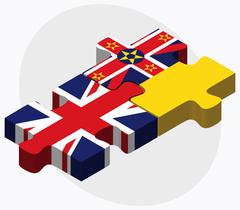 United Kingdom and Niue Flags - stock illustration