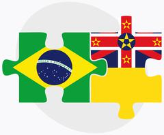 Brazil and Niue Flags in puzzle - stock illustration
