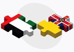 United Arab Emirates and Niue Flags - stock illustration