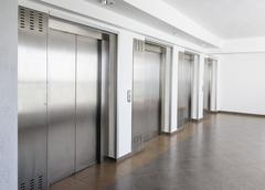 Elevator cabin stainless steel - stock photo