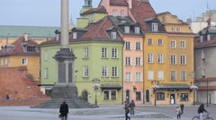 Castle Square in Warsaw, Poland Stock Footage