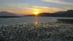 Aerial sunset view Loch Duich mountain Landscape Scotland Stock Footage