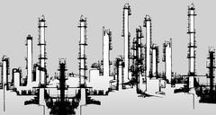Oil refinery illustration - stock illustration