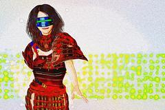 Ambitiious Japanese cyber samurai commander Stock Illustration