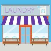 Building laundry flat design Stock Illustration