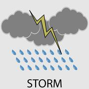 Icon weather storm - stock illustration