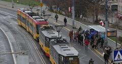 Cars Buses In Aleja Solidarnosci Warsaw Stock Footage