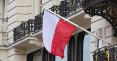 Polish Flag On A Building In Warsaw Stock Footage