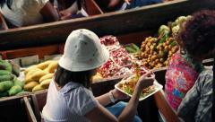 Woman Eating Lunch On River Boat Stock Footage
