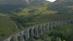 Aerial view of couple by Glenfinnan railway Viaduct Scotland Stock Footage