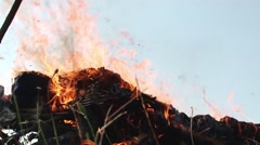 Flames that bribe a sacrifice over a funeral pyre decorated with ram horns 24 - stock footage