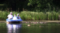 Child and grandfather are boating on the lake and feed the ducks 03 - stock footage