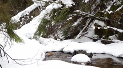 Mountain stream flowing through snow drifts 3415 Stock Footage
