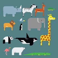 Stylized endangered animals vector set - stock illustration