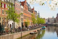 One of canals in Amsterdam, Holland Stock Photos