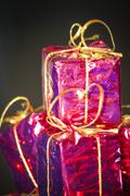 Gift packages for a party such as Christmas or birthday - stock photo