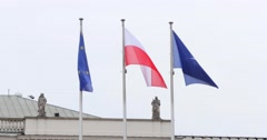 Waving Flags On Top Of The Presidential Palace In Warsaw 4k Stock Footage