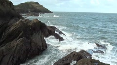 Ocean Waves With Rock Outcrops Along Coastline - Timelapse x10 Stock Footage