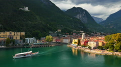 Aerial view of Paddle Steamer Riva Lake Guarda Italy Stock Footage